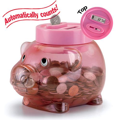 Hucha con forma de cerdo y contador digital