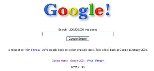 Google en el 2001