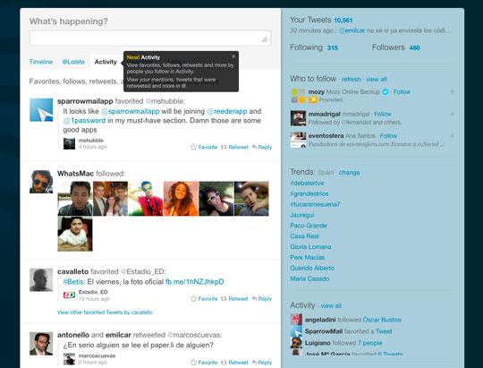 Pestaña activity Twitter