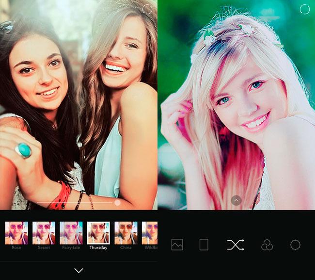 Capturas de la app B612 para hacer selfies